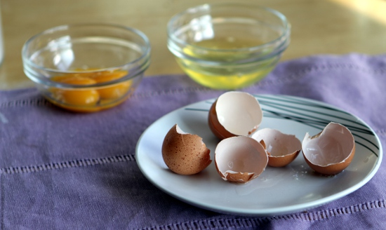Eggs separated: yolks for the dough; whites for the marshmallow topping.