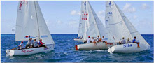 J/22s sailing off starting line on Montego Bay, Jamaica