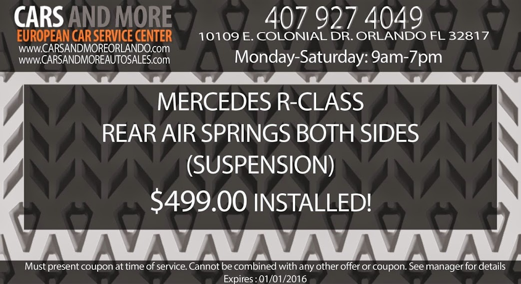 Mercedes R-Class rear air springs both sides (suspension) $499.00 installed! www.carsandmoreorlando.com