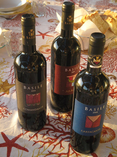 wine labels at the Basile winery in Southern Tuscany
