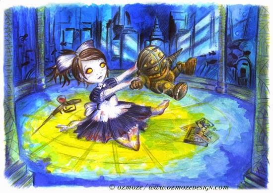 Bioshock fan art Big daddy et petite soeur