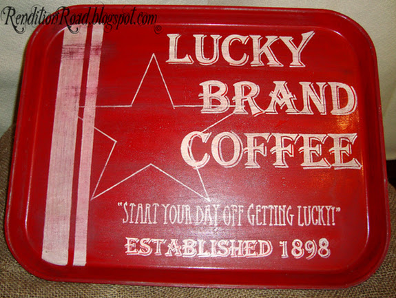 Cafeteria tray turned coffee sign