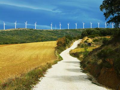 Wind farm on the top of the Alto de Perdon in Spain