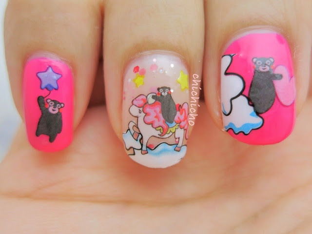 Kumamon and Pony Water Decal Nail Art Bear