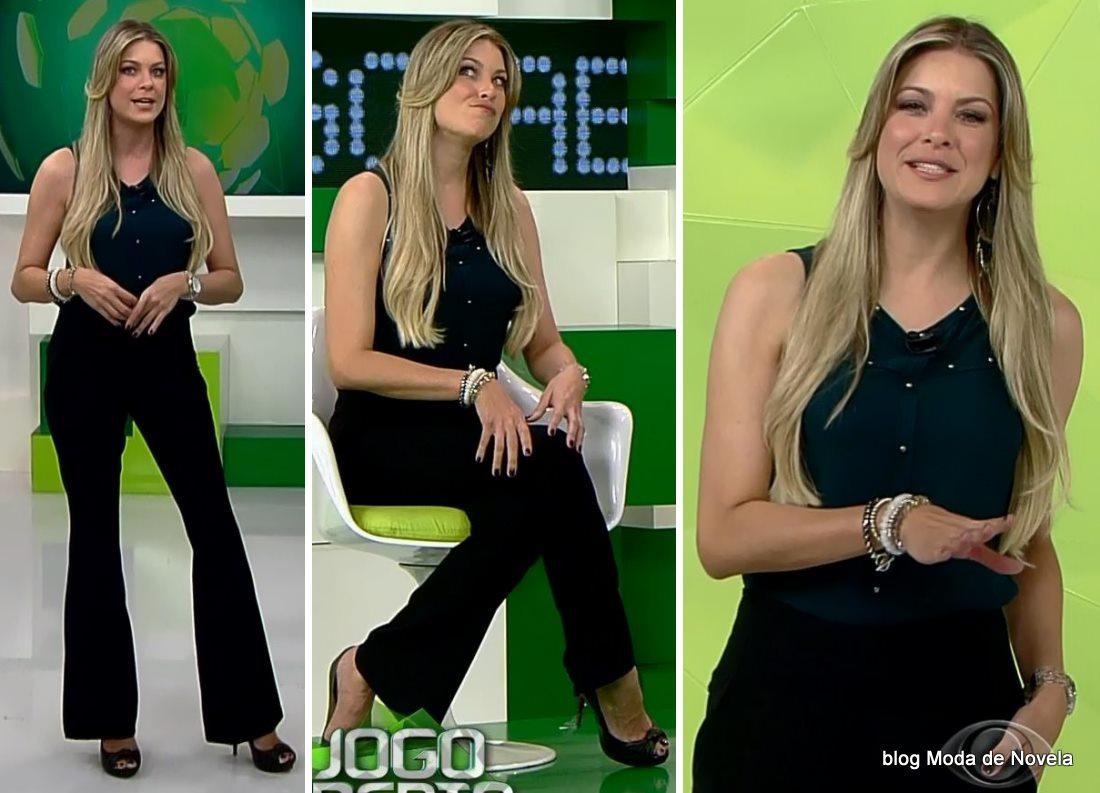 moda do programa Jogo Aberto - look da Renata Fan dia 14 de maio