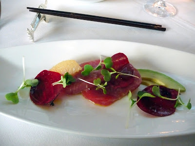 Mistral Kitchen, Seattle, chef's dinner, big eye tuna with grapefruit, avocado, microgreens, thinly sliced beet