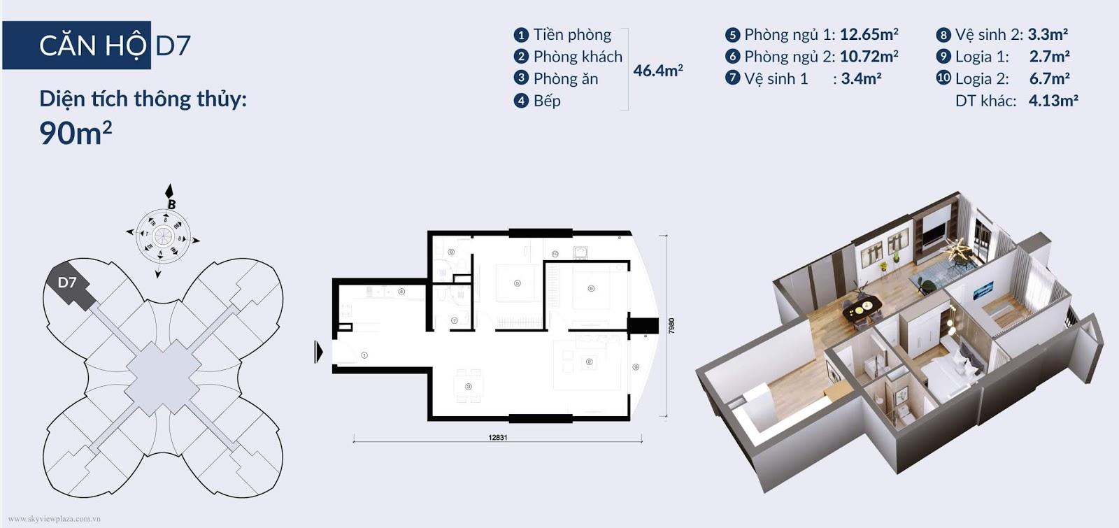 Chi tiết căn hộ D7 dự án 360 Giải Phóng