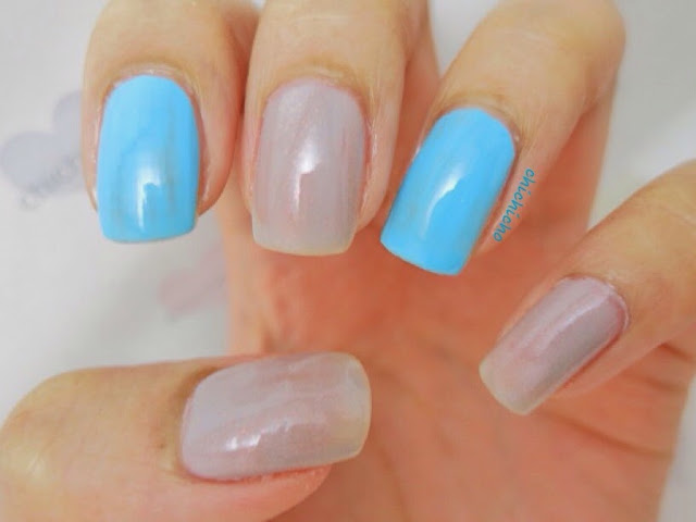 "Nicole by OPI ""Baby"" Blue and Essence Color & Go 142 grey-t to be here Swatch"