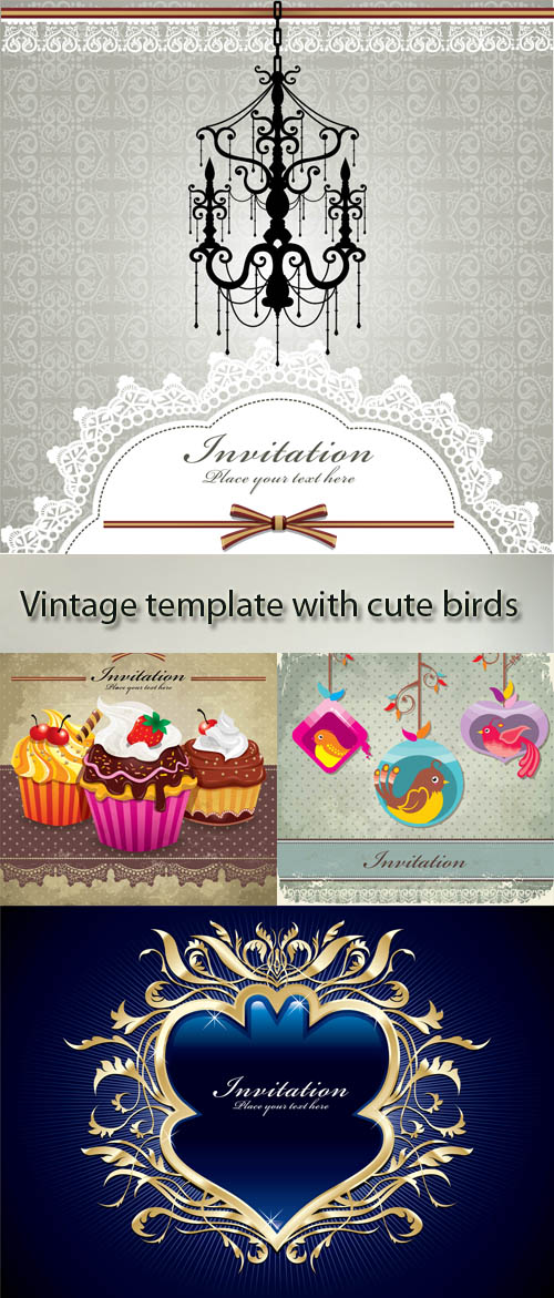 Stock: Vintage template with cute birds and patterns
