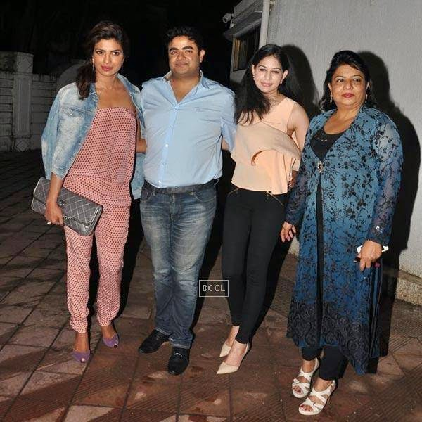 Priyanka Chopra arrives with her family for the wrap-party of Bollywood movie Mary Kom, held at Sanjay Leela Bhansali's residence on July 26, 2014.(Pic: Viral Bhayani)