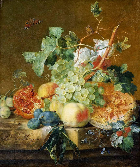 Jan van Huysum - Still life of fruit on a marble plinth, 1736