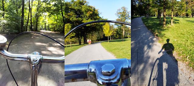 Bilder vom Fahrradfahren durch den englischen Garten