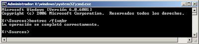 Reparar equipo con Windows Server 2008 mediante línea de comandos