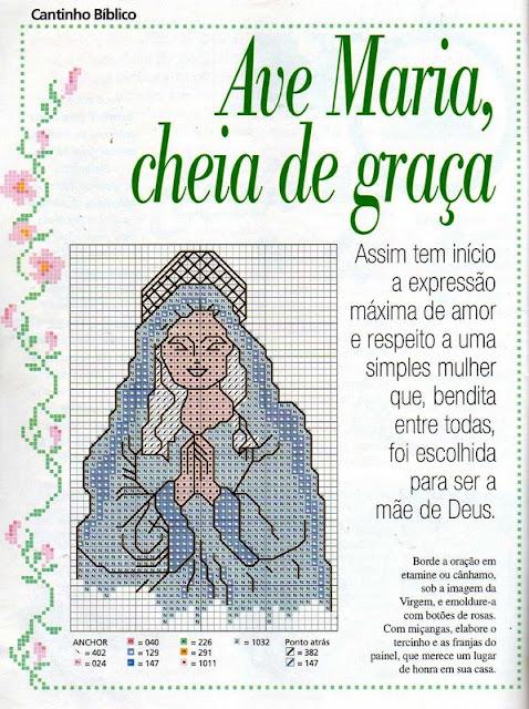 lindos gráficos religiosos com Nossa Senhora e a Oração Ave Maria