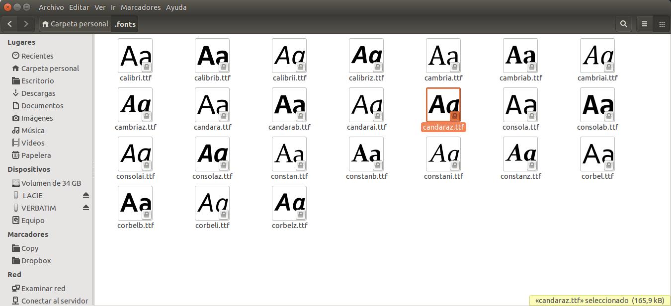 Instalar la tipografia calibri en ubuntu