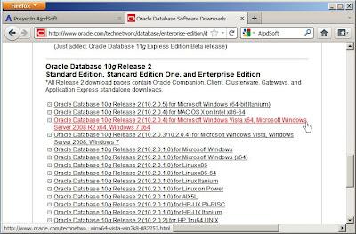 Ficheros de instalación de Oracle Database 10g Release 2 x64