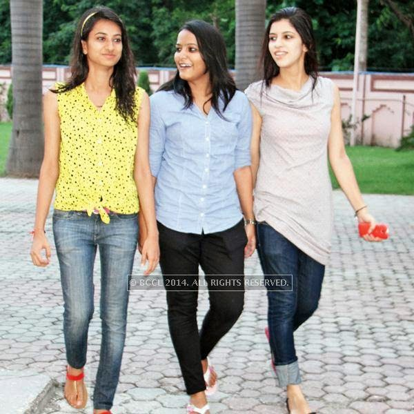 (L-R) Reeva, Anshul and Surabhi during a fashion show, held at a Management institute, in the city.<br />