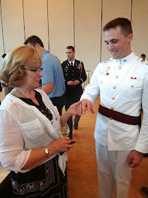 Mrs. Joann Plotkin with the First Captain, CDT CPT Austin Welch at the Ring Donor Reception