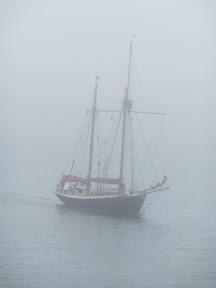 J-Class yacht lurking in the fog