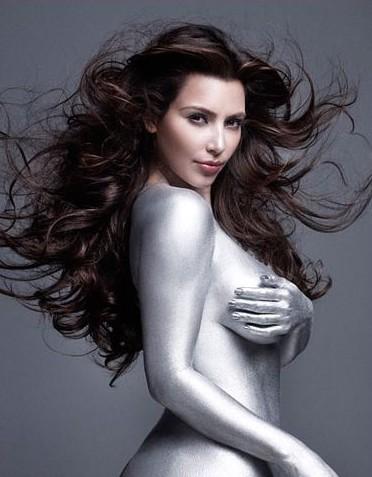 kim kardashian silver paint magazine shoot. Kim Kardashian Magazine Cover|