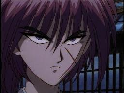 Young Kenshin, glaring.
