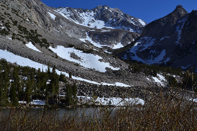 a small valley and route to Basin Mountain