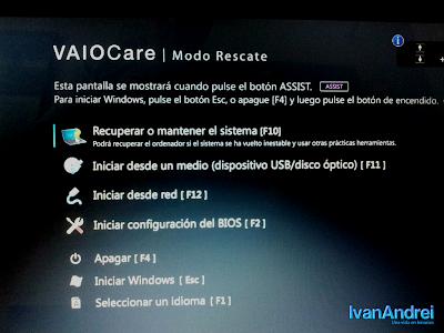 Sony Vaio - BIOS - Iniciar Medio