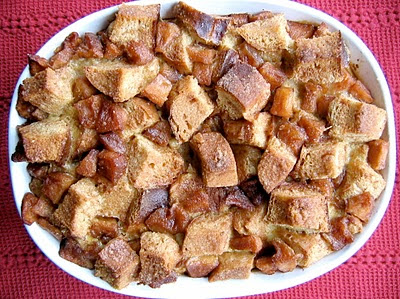 apple bread pudding in a baking dish