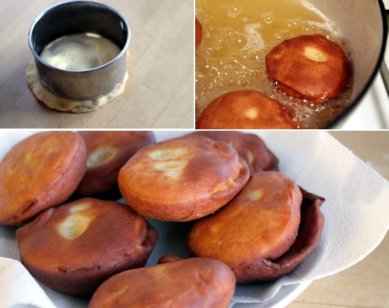 Sealing, cooking, and draining the doughnuts.