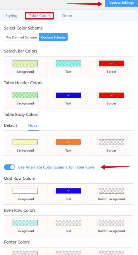 Customizing WordPress table color
