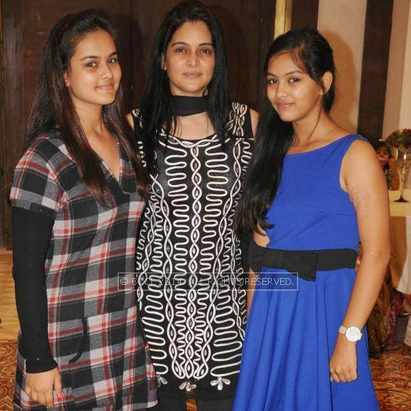 Malvika, Dr Sapna and Shireen Sharma during Richa-Gaurav Rughwani's wedding reception, held in Nagpur.