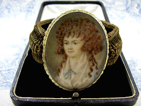 Georgian Mourning Bracelet Hairwork Miniature 18ct Gold 1790s