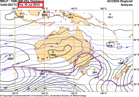 10th july 2014 thickness map for OZ