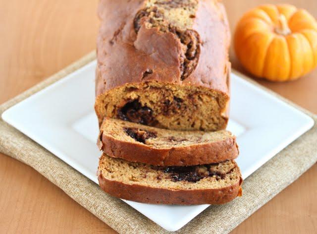 close-up photo of a Nutella Swirl Pumpkin Bread
