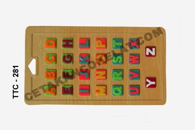 Cetakan Coklat TTC281 Huruf Abjad cokelat alfabet