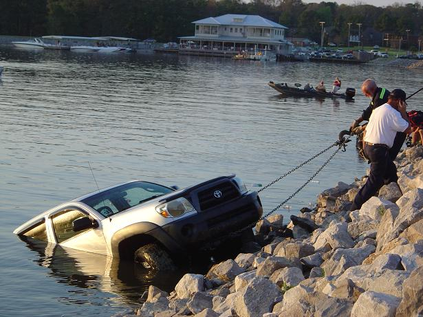 ross barnett reservoir truck runs into rez saturday afternoon