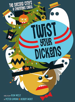 Portland Center Stage Twist Your Dickens poster, Art by Julia McNamara running November 22 - December 24, 2014