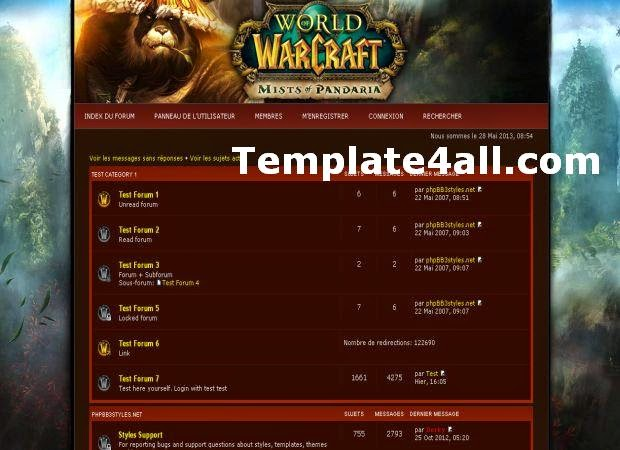 Free WOW Mists of Pandaria Phpbb Theme