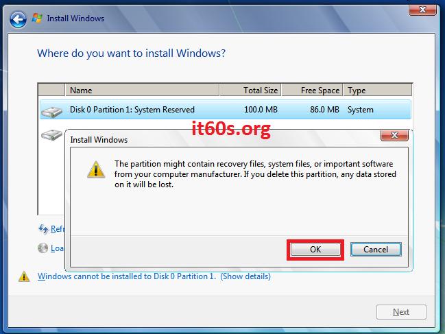 Thủ thuật khắc phục lỗi 0x80070057 khi cài Windows 7 8