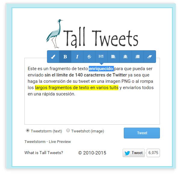 enviar tweets largo enriquecidos texto