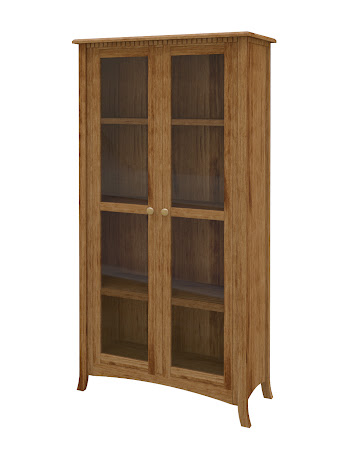 Lisbon Glass Door Bookshelf in Lamar Maple