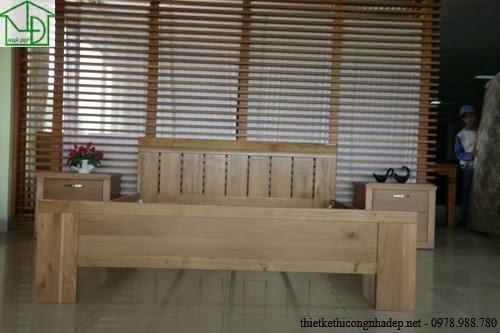 Giường ngủ gỗ dổi thực tế thi công