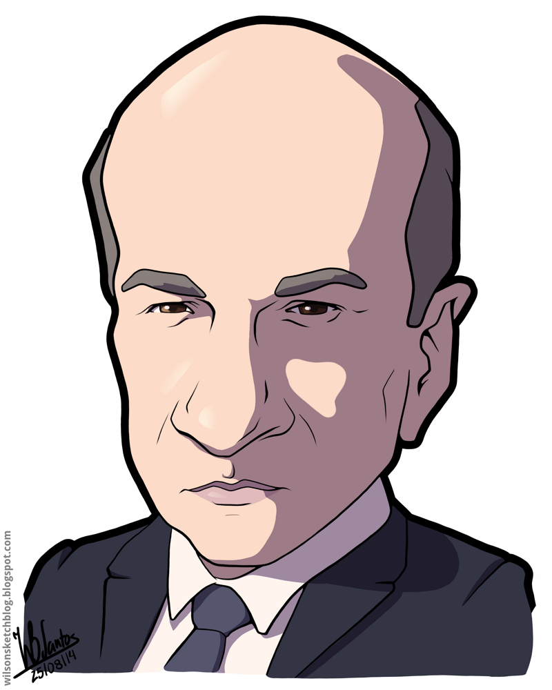 Cartoon caricature of Kevin O'Leary.