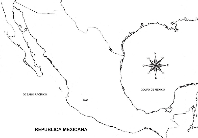 為孩子們的著色頁 Mapa De La República Mexicana Sin Nombres