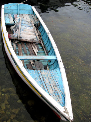 Boat on Lake Titicaca in Bolivia