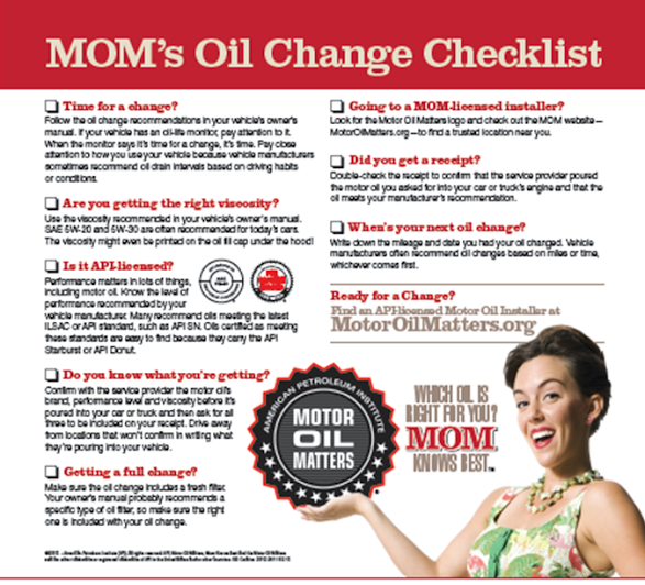 Oil Change Checklist from Motor Oil Matters