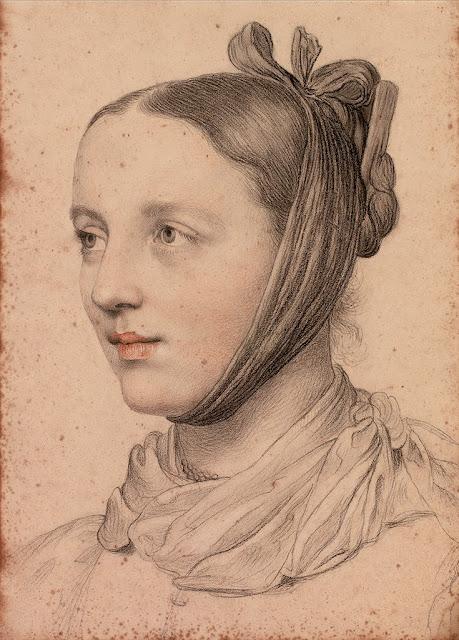 Marie Ellenrieder - Portrait einer jungen Frau mit gezopfter Frisur und Kinnschal