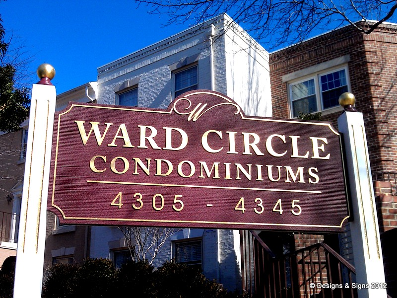 sandblasted sign - ward circle