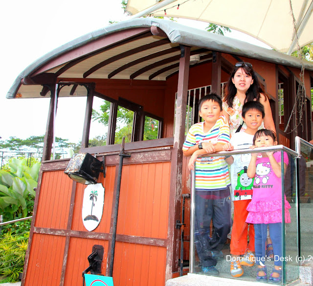 Posing with the kids at an old tram