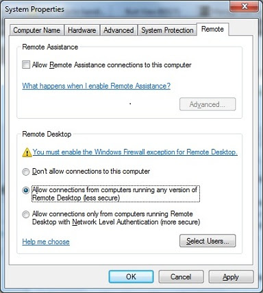 Enable remote desktop in Windows 7